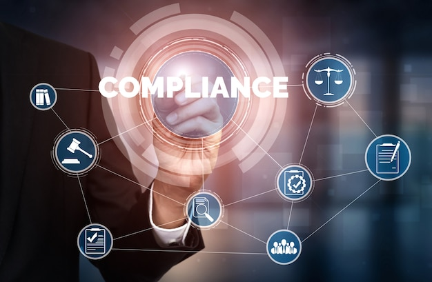 Interfaccia grafica di legge e regolamentazione relativa alle norme di conformità per la politica di qualità aziendale