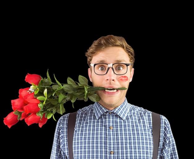 Immagine composita di hipster geek che morde un mazzo di rose