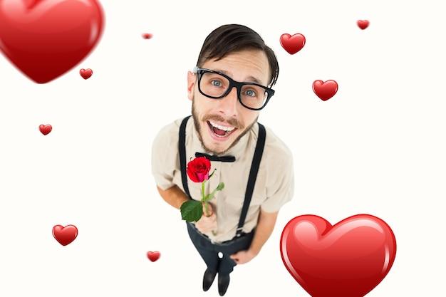 Immagine composita di geek hipster innamorato che tiene rose