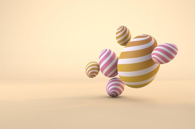 Composizione delle uova di pasqua 3d. pastello di vacanza uno sfondo trasparente di file psd