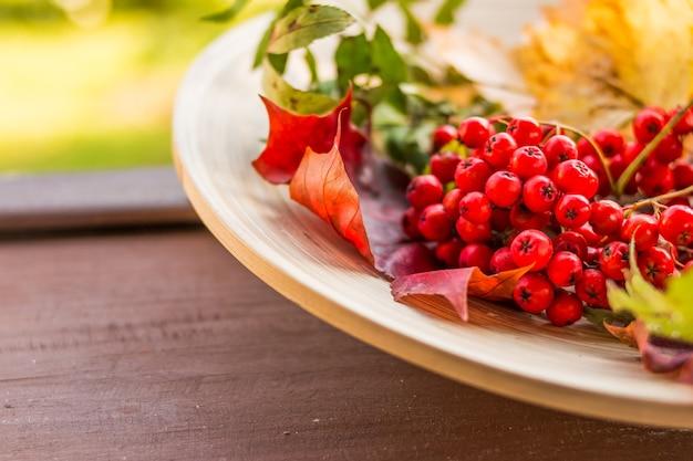 Composizione di bacche autunnali, foglie e frutti su legno