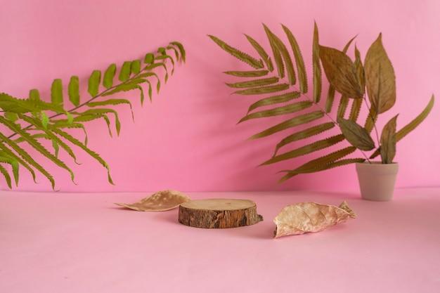 La composizione presenta prodotti estivi in legno tondo su fondo rosa con decorazione di foglie essiccate