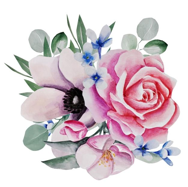 Composizione di fiori. illustrazione dell'acquerello