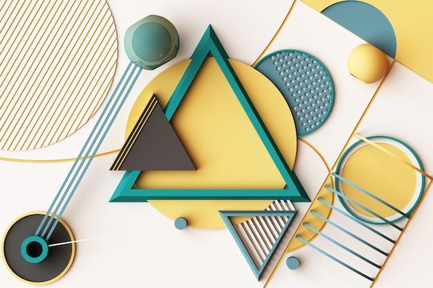 Composizione di forme geometriche in stile memphis nei toni del giallo e del verde. 3d rendering illustrazione