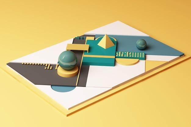 Composizione di forme geometriche nei toni del giallo e del verde. 3d rendering illustrazione