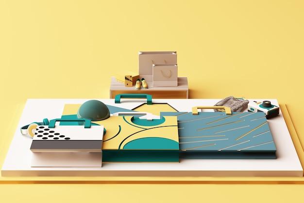 Composizione di shopping bag dalle forme geometriche in stile memphis nei toni del giallo e del verde. 3d rendering illustrazione