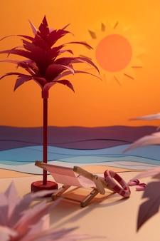 Composizione della spiaggia estiva realizzata con materiali diversi