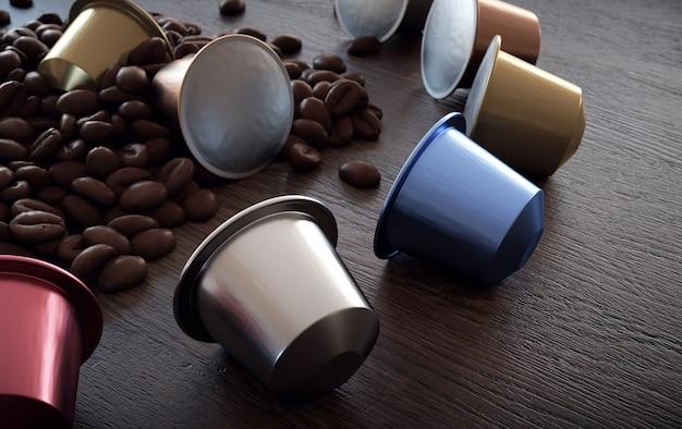 Composizione con chicchi di caffè e capsule assortite su legno rustico.