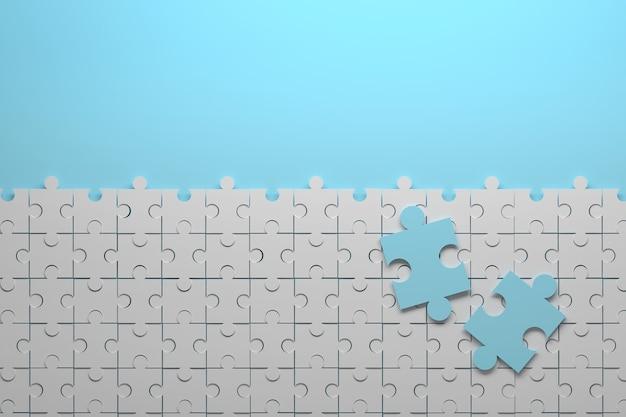 Composizione con puzzle piccoli pezzi e due grandi pezzi blu immagine con copia spazio vuoto illustrazione 3d