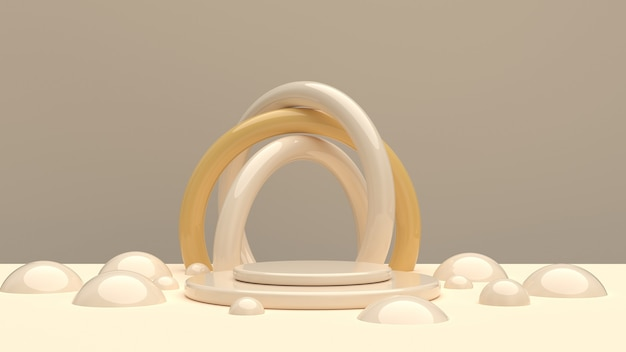 Composizione dalle forme arrotondate nei toni dello champagne per la dimostrazione del prodotto