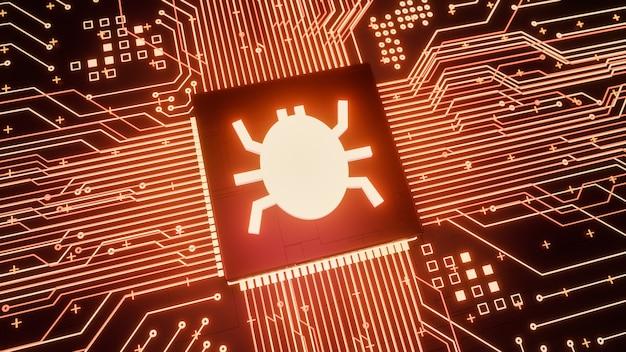 Bug del computer o malware virus trovato all'interno dell'unità microprocessore del computer o della cpu, sistema di sicurezza di rete vulnerabile, concetto di violazione dei dati di attacco di hacking hardware di basso livello di rendering 3d
