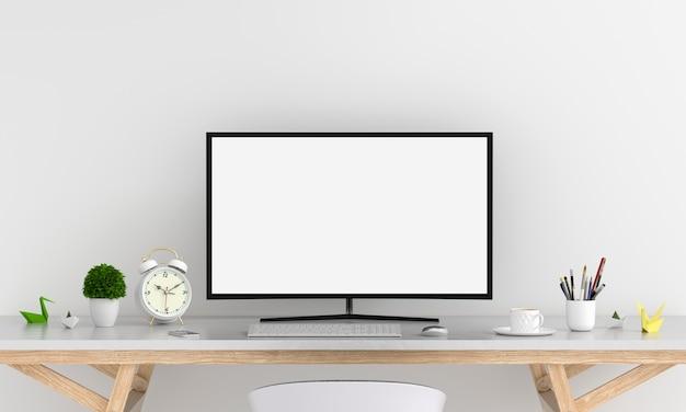 Visualizzatore del computer per il modello sulla tavola nella stanza bianca, rappresentazione 3d