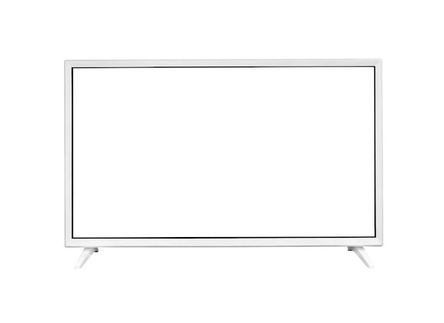 Display del computer con schermo bianco vuoto. vista frontale. isolato su sfondo bianco.