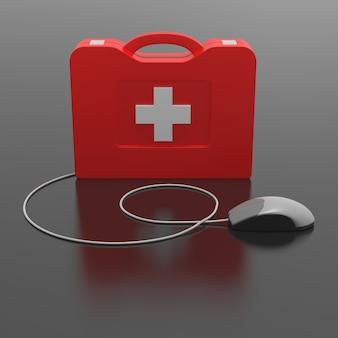Kit di pronto soccorso informatico. isolato su sfondo nero.