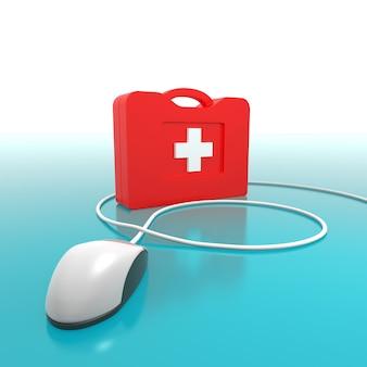 Kit di pronto soccorso informatico. isolato su sfondo blu.