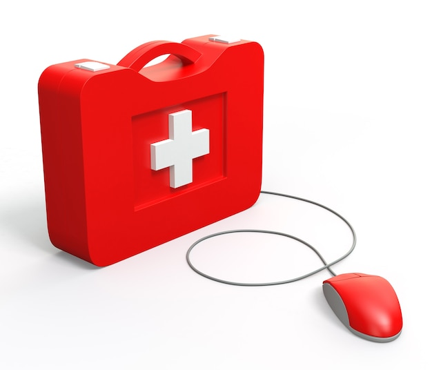 Kit di pronto soccorso informatico. isolato su sfondo bianco.