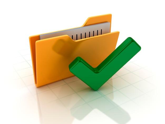 Cartella del computer con il simbolo di controllo