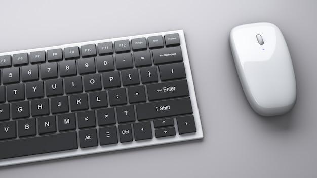Tastiera del computer e mouse wireless sul tavolo. argomenti di office.