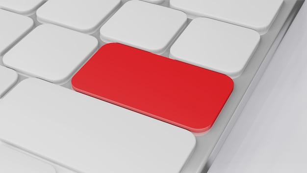 Tastiera del computer con tasto rosso, rendering 3d di concetto di finanza aziendale