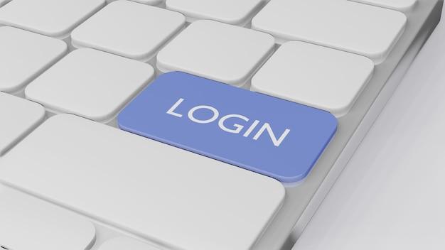Tastiera del computer con login di parola, concetto di finanza aziendale 3d randering