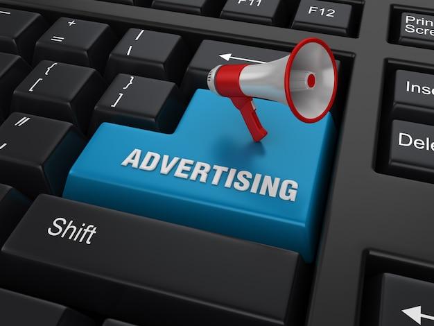 Parola chiave del computer con il megafono e la parola di pubblicità