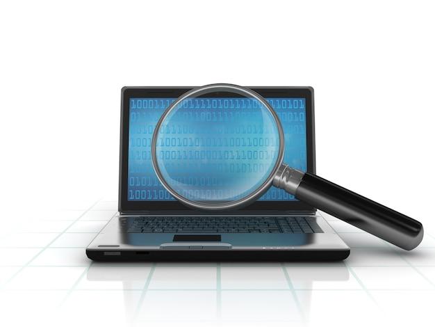 Computer portatile con codice binario e lente d'ingrandimento