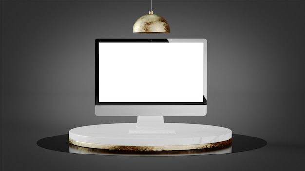 Computer mock up sulla piattaforma di marmo di lusso rendering 3d