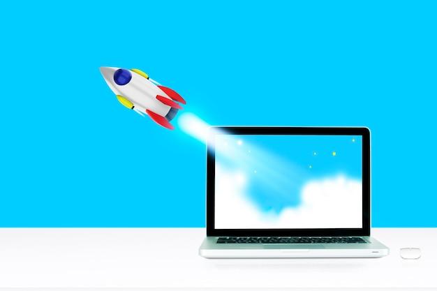 Monitor del computer isolato su schermo bianco sulla scrivania in stile ufficio. lancio della navetta spaziale nello spazio aperto sopra la terra. oceano e cielo sotto il concetto di astronave di affari. . rendering 3d