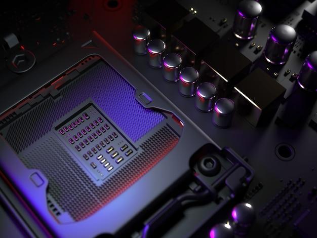 Presa della cpu della scheda madre del computer si chiuda. illustrazione 3d