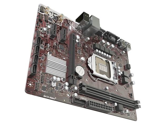 Scheda madre del computer isolata su sfondo bianco. illustrazione 3d