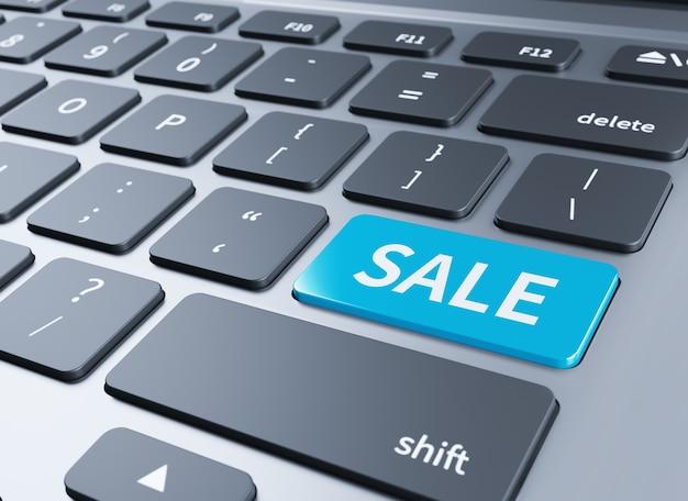 Tastiera del computer portatile con chiave di vendita - tecnologia background.3d illustrazione
