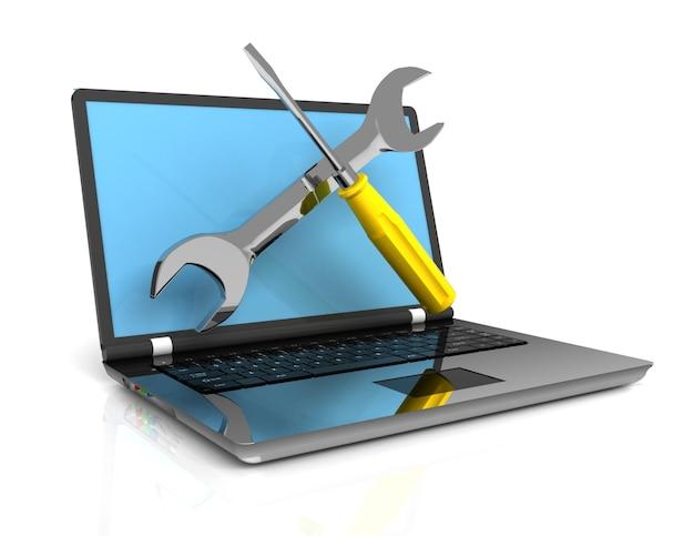 Riparazione computer, laptop, concetto 3d