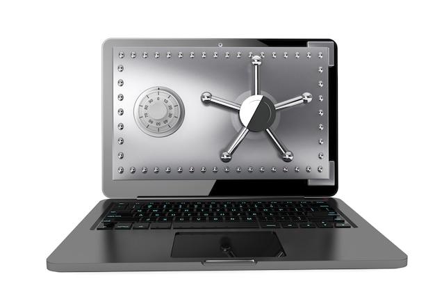 Concetto di sicurezza informatica. computer portatile con porta di sicurezza su sfondo bianco