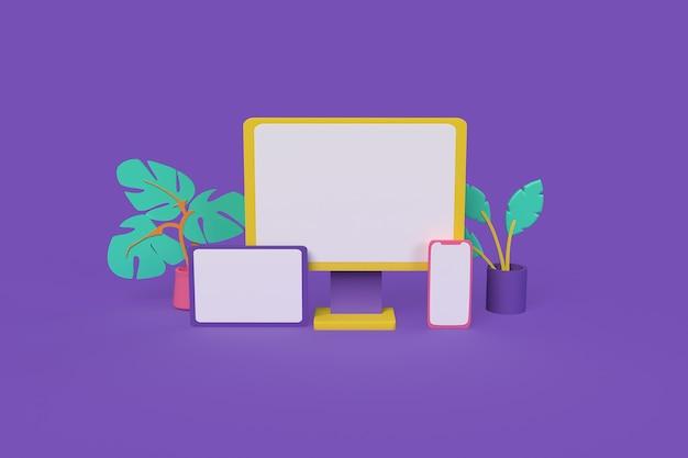 Computer smartphone e tavolo mockup 3d rendering illustrazione