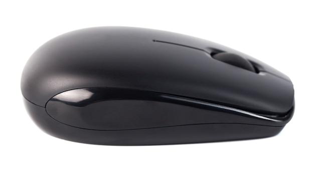 Mouse nero senza fili del computer isolato su priorità bassa bianca.