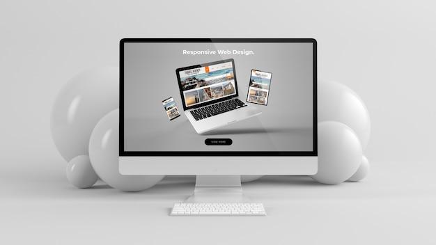 Computer con rendering 3d mockup minimo sfondo di bolle