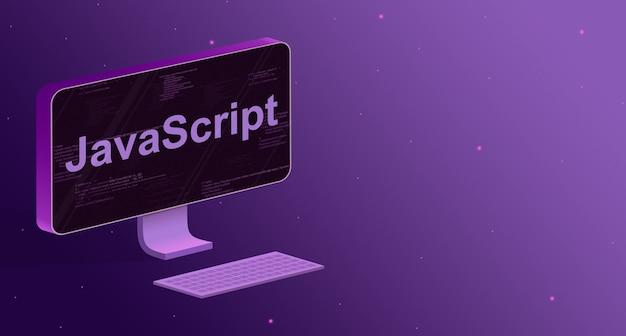 Computer con elementi di codice del programma sullo schermo e la scritta javascript e una tastiera su uno sfondo viola 3d