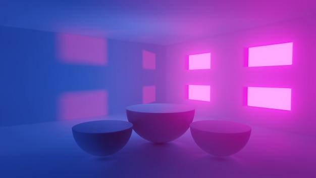 Concetto astratto, ampio salone con luce rosa, viola e blu vuoto e quattro finestre con taglio sferico a metà podio esposizione di prodotti stand - rendering 3d.