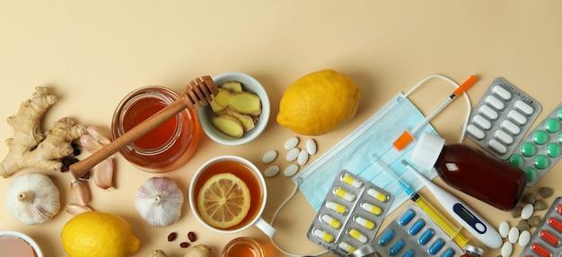 Concetto di trattamento a freddo alternativo sul beige