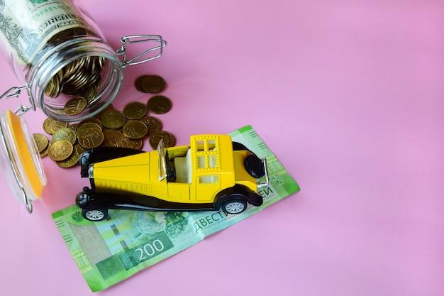 Concetto di assicurazione auto e finanziamento per l'acquisto di un'auto.
