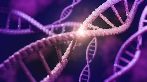 Concetto di biochimica con molecola di dna., modello 3d e illustrazione.