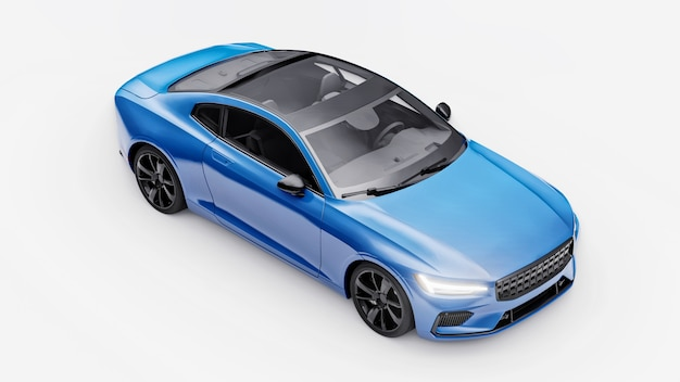 Concept car sport coupé premium. automobile blu su sfondo bianco. ibrido plug-in. tecnologie di trasporto eco-compatibili. rendering 3d.