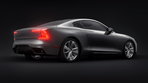 Concept car sport coupé premium. automobile grigia su sfondo nero. ibrido plug-in. tecnologie di trasporto eco-compatibili. rendering 3d.