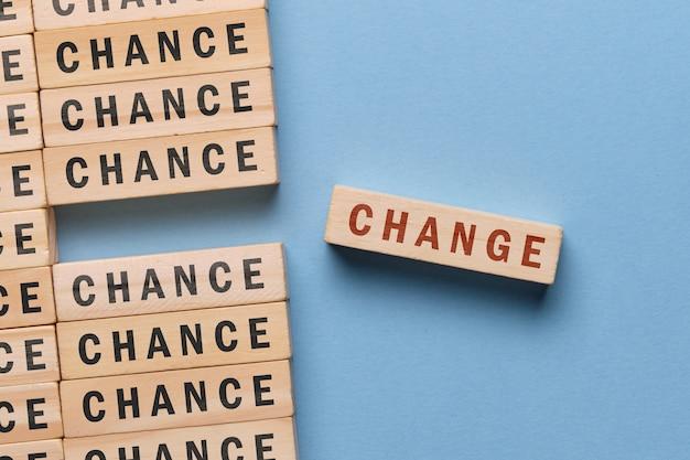 Il concetto di possibilità e cambiamento - un blocco di legno con un'iscrizione su uno spazio blu.