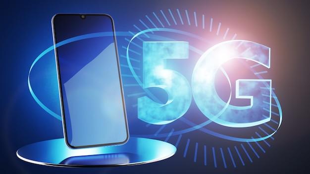 Concetto di connessione a reti di comunicazione 5g. rendering 3d.