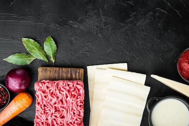 Il concetto di cucinare le lasagne. ingredienti lasagne in fogli
