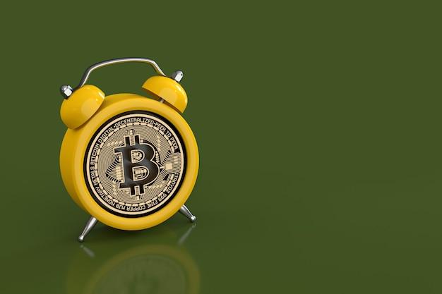 Scadenza del concetto per investire in valuta criptata che mostra sveglia con un bitcoin come quadrante dell'orologio su sfondo verde. rendering 3d