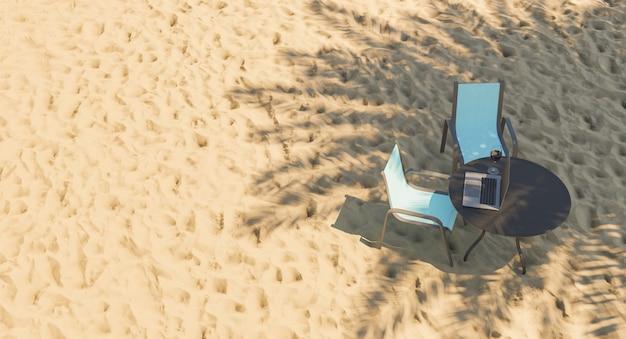 Concetto di nomade digitale sulla spiaggia