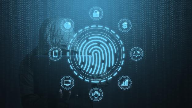 Concetto di sicurezza digitale e accesso ai dati utilizzando uno scanner di impronte digitali.