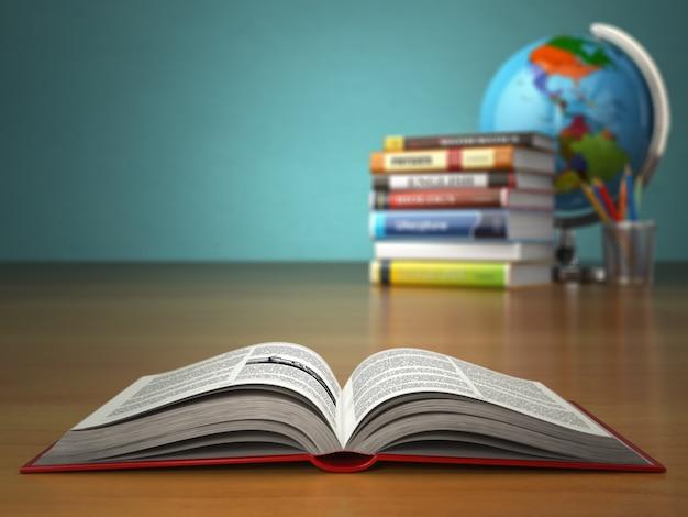 Concetto di educazione libro aperto con matite e globo su sfondo verde vintage